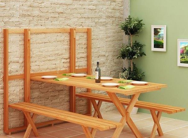 компактный стол и скамейка мебель
