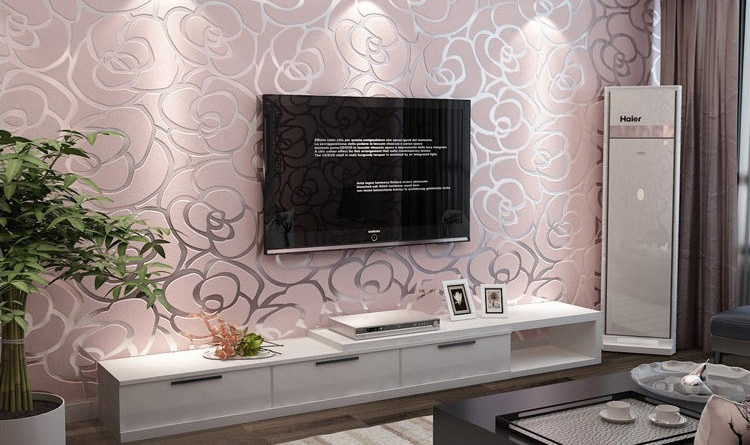 High-Quality-Romantic-Embossed-Floral-Non-woven-font-b-Wallpaper-b-font-font-b-Flocking-b